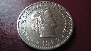 Swiss franc coin