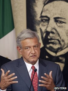 Andres Manuel Lopez Obrador speaking on 3 July