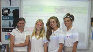 St John's School pupils in Cyprus, with the World Class live discussion in the background!  Great work guys!