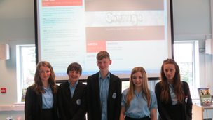 Upton-By-Chester students in front of the World Class live discussion page!  Amazing work!