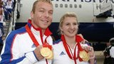Chris Hoy (left) and Rebecca Adlington with their gold medals from the Beijing Olympics