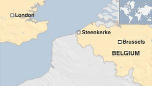Map showing Steenkerke in Belgium