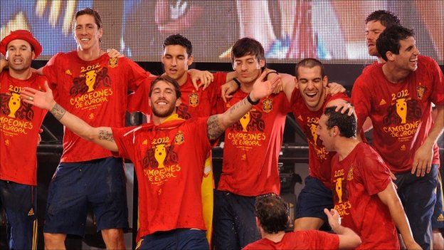 "Spain""s Sergio Ramos (centre) celebrates with team-mates"
