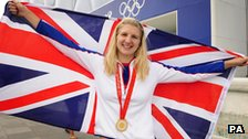 Rebecca Adlington with flag.