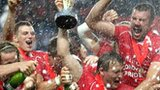 London Welsh celebrate winning the Championship last season