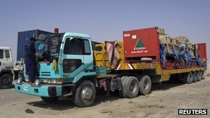 Trucks used for delivering Nato supplies at the Pakistan-Afghanistan border town of Chaman 