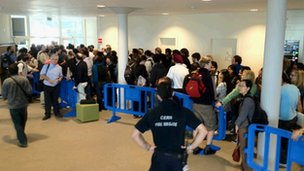 Physicists queued for an overflow room to hear the Higgs results