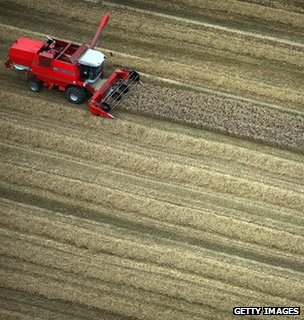 Combine harvester in a field (Getty Images)