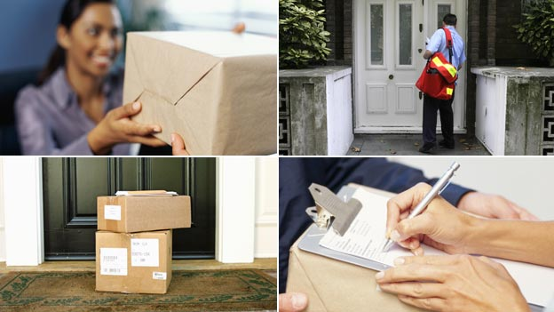 (clockwise) Woman being handed a package; postman standing outside a front door; person signing for a package; parcel waiting outside a front door 