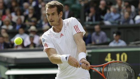 Andy Murray plays at Wimbledon