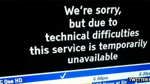 BBC One HD error message