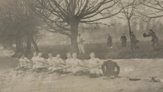 Sir Albert Gladstone and the men's eight during winter training
