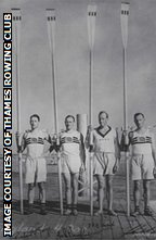 Hugh 'Jumbo' Edwards (second from right) and the 1932 GB men's coxless four
