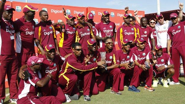 West Indies celebrate with the Twenty20 series trophy