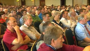 Farmers at a meeting at Staffordshire County Showground