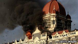 The Taj Mahal Palace Hotel in Mumbai on fire