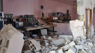 al-Akhbariya offices in Damascus after they were attacked by gunmen