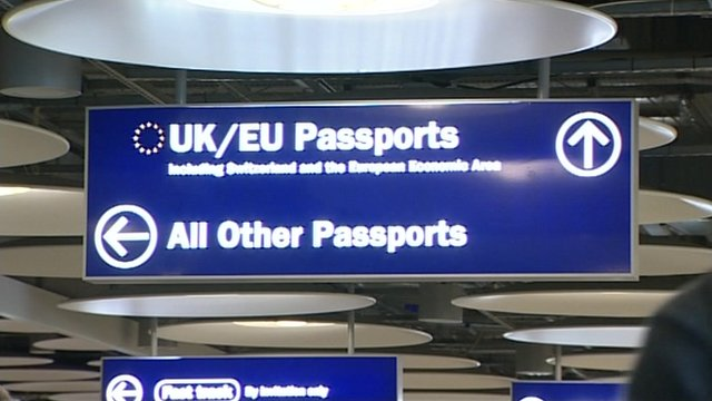 Sign at passport control