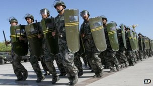 "Members of the militia, a civilian reserve force under China's military, in an anti-terrorism exercise in Hami, in northwestern China""s Xinjiang region, 28 June, 2012"