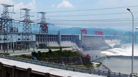 The Three Gorges Dam in operation, 4 July 2012