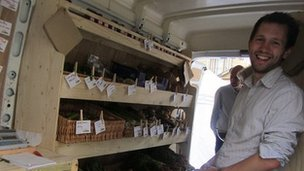 Co-founder Dan Betterton inside the greengrocer van