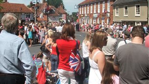 Crowds in Wickham Market