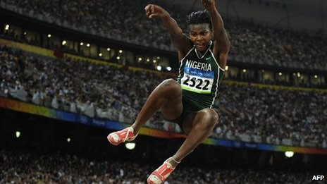 Nigerian long jump athlete Blessing Okagbare - (August 2008)