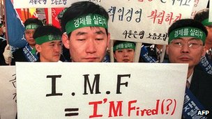A protestor in South Korea during the 1997 crisis