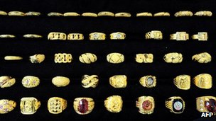 Gold rings on display in South Korea