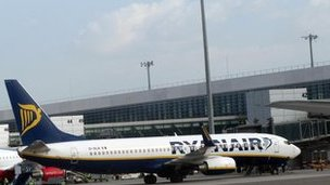 Ryanair plane at Malaga airport