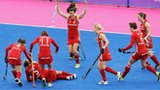 Great Britain's hockey players celebrating