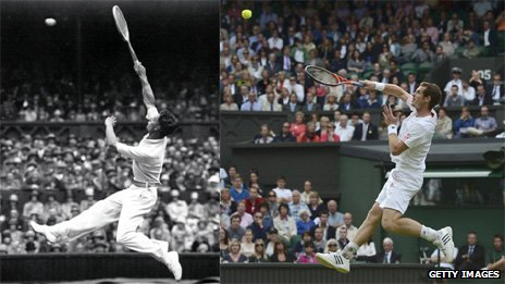 "Wimbledon finalists Henry ""Bunny"" Austin and Andy Murray"