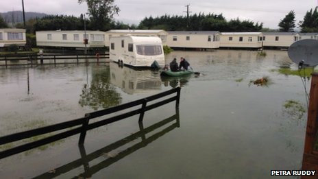 Flooded caravan park in Newcastle