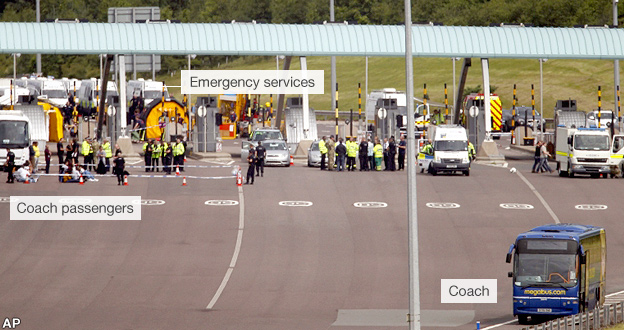M6 Toll booths, the stranded coach, passengers and emergency services