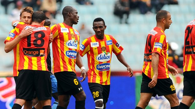 Esperance players in action against Brikama United during their African Champions League match in April
