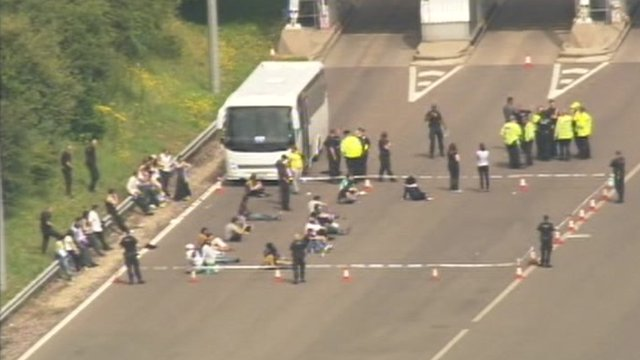 Passengers in police cordon