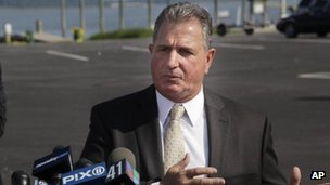 Nassau County Police Det Lt John Azzata, at a news conference on a fatal boating accident. Oyster Bay, New York, 5 July 2012