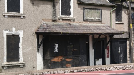 Boarded up properties in Mwrog Street, Ruthin, Denbighshire