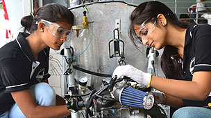 Indian students in an eco-marathon challenge, July 2012