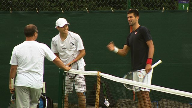 Tommy Bennett (centre) and Novak Djokovic (right)