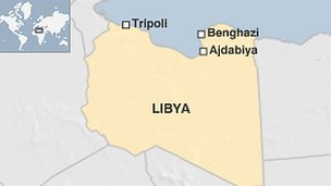 Map of Libya showing Ajdabiya