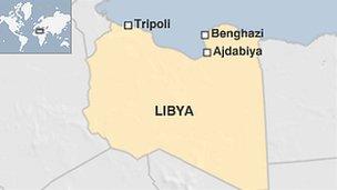 Map of Libya showing Ajdabiya
