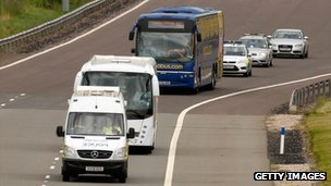 The Megabus coach being driven off the M6 Toll road accompanied by police