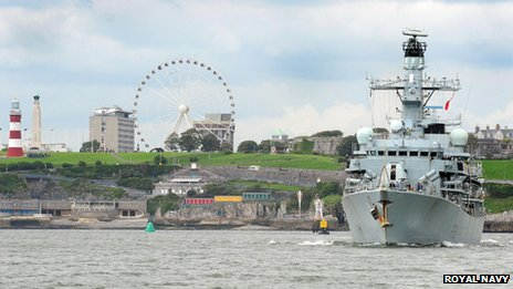 HMS Sutherland leaving Plymouth, 5 July 2012
