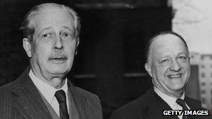 Former Prime Minister Harold Macmillan (l) with former Home Secretary Rab Butler