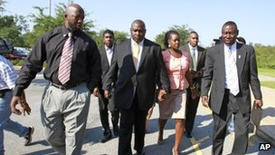 Trayvon Martin's family and lawyer arrived for the bond hearing 29 June 2012
