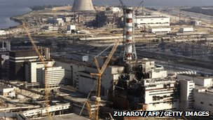 Chernobyl nuclear power plant a few months after an explosion in 1986