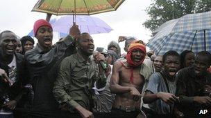 People originally from Mali's north protest in the rain against the Islamist takeover of northern Mali, in the capital, Bamako- Wednesday 4 July 2012