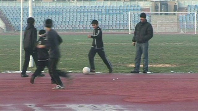 Children playing football in Kazakhstan
