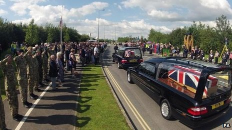Cortege leaves RAF Brize Norton